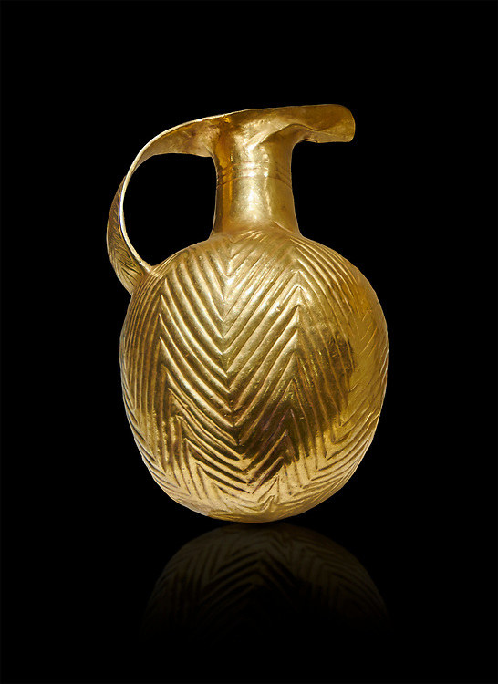 Bronze Age Hattian gold flask from a possible Bronze Age Royal grave (2500 BC to 2250 BC) - Alacahoyuk - Museum of Anatolian Civilisations, Ankara, Turkey. Against a black background .<br /> <br /> If you prefer to buy from our ALAMY PHOTO LIBRARY  Collection visit : https://www.alamy.com/portfolio/paul-williams-funkystock/royal-tombs-alaca-hoyuk-bronze-age.html (TIP refine search by adding background colour in the LOWER search box)<br /> <br /> Visit our ANCIENT WORLD PHOTO COLLECTIONS for more photos to download or buy as wall art prints https://funkystock.photoshelter.com/gallery-collection/Ancient-World-Art-Antiquities-Historic-Sites-Pictures-Images-of/C00006u26yqSkDOM