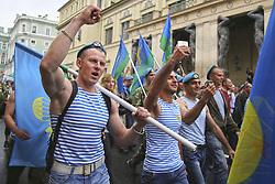 August 2, 2017 - Saint Petersburg, Russia - August 2, 2017. - Russia, Saint Petersburg. - Celebrating Airborne Force Day. Paratrooper march on Millionnaya Street. (Credit Image: © Russian Look via ZUMA Wire)