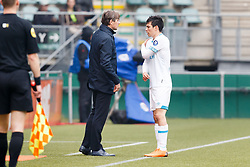 (L-R) coach Phillip Cocu of PSV, Hirving Lozano of PSV during the Dutch Eredivisie match between ADO Den Haag and PSV Eindhoven at Cars Jeans stadium on April 29, 2018 in The Hague, The Netherlands