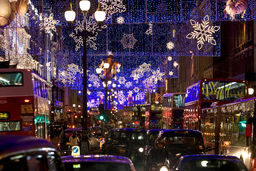 Christmas decorations and traffic in Regent Street, London, United Kingdom