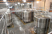 View over the winery, stainless steel fermentation tanks Bodega NQN Winery, Vinedos de la Patagonia, Neuquen, Patagonia, Argentina, South America