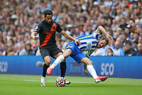 Football - 2021 / 2022 Premier League - Brighton & Hove Albion vs Everton - Amex Stadium - Saturday 28th August 2021<br /> <br /> Andros Townsend of Everton pushes Alexis Mac Allister of Brighton off the ball during the Premier League match at The Amex Stadium Brighton  <br /> <br /> COLORSPORT/Shaun Boggust
