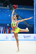 Zeng Laura during qualifying at ball in Pesaro World Cup 10 April 2015. Laura was born in Hartford, Connecticut in October 14, 1999. She is an American individual rhythmic gymnast.