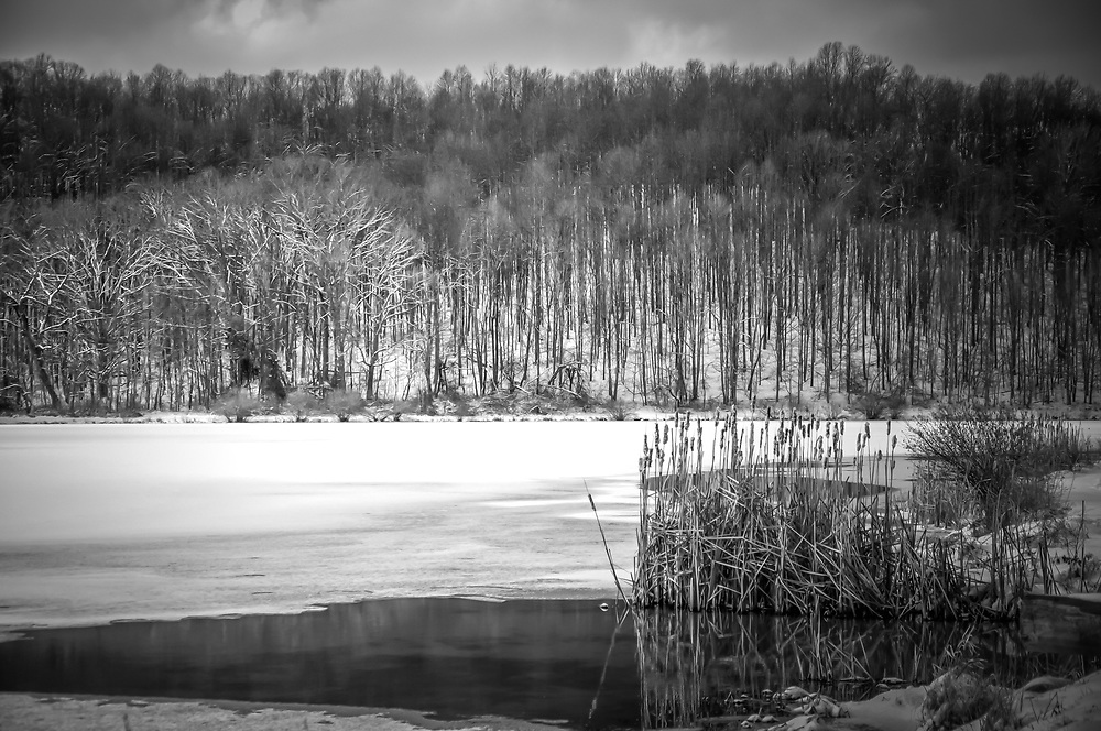 Snow covered lake in mid January