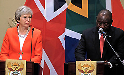 SOUTH AFRICA. Cape Town. 28.08.18. UK Prime Minister Theresa May and South African President Cyril Ramaphosa at Tuynhuys after a joint meeting between the Trade Ministers of the United Kingdom (UK), Southern African Customs Union Member States (SACU) and Mozambique on a future joint economic partnership agreement (EPA). Picture:Ian Landsberg/African News Agency (ANA)