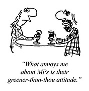 """What annoys me about MPs is their greener-than-thou attitude."""