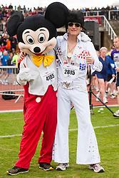 Sheffield Half Marathon and Fun Run Sunday Morning.Micky Mouse and Elvis..12 May 2013.Image © Paul David Drabble