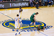 Golden State Warriors forward Draymond Green (23) reacts as he's called for a blocking foul on Boston Celtics guard Isaiah Thomas (4) at Oracle Arena in Oakland, Calif., on March 8, 2017. (Stan Olszewski/Special to S.F. Examiner)