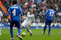 27.01.2013 SPAIN -  La Liga 12/13 Matchday 21th  match played between Real Madrid CF vs Getafe C.F. (4-0) at Santiago Bernabeu stadium. The picture show Luka Modric (Croatian midfielder of Real Madrid)
