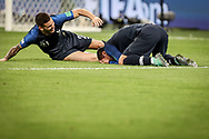 Antoine Griezmann of France with Lucas Hernandez celebrate after winning the 2018 FIFA World Cup Russia, Semi Final football match between France and Belgium on July 10, 2018 at Saint Petersburg Stadium in Saint Petersburg, Russia - Photo Thiago Bernardes / FramePhoto / ProSportsImages / DPPI