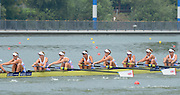 Chungju, South Korea.  GBR W8-. Bow. Beth RODFORD, Melanie WILSON, Caragh MCMURTY, Louisa REEVE, Jessica EDDIE, Zoe LEE, Katie GREVES, Oliva CARNEGIE-BROWN and cox Zoe DE TOLEDO, at the start. 2013 World Rowing Championships, Tangeum Lake, International Regatta Course. 11:38:13  Wednesday  28/08/2013 [Mandatory Credit. Peter Spurrier/Intersport Images]