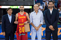 Spain's Juan Carlos Navarro, Juan Antonio San Epifanio and Jorge Garbajosa during receive the congratulations for the player with more games with the national team friendly match for the preparation for Eurobasket 2017 between Spain and Venezuela at Madrid Arena in Madrid, Spain August 15, 2017. (ALTERPHOTOS/Borja B.Hojas)