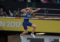 Athletics - 2017 IAAF London World Athletics Championships - Day Five, Evening Session<br /> <br /> Mens Pole Vault Final<br /> <br /> Sam Kendricks (United States) clears the bar at the London Stadium<br /> <br /> COLORSPORT/DANIEL BEARHAM