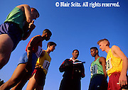 Outdoor recreation, Competitive Running, Track and Field, High School Runners, Coach Instructs Track Team