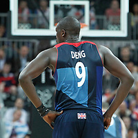 02 August 2012: Great Britain Luol Deng rests during 79-78 Team Spain victory over Team Great Britain, during the men's basketball preliminary, at the Basketball Arena, in London, Great Britain.