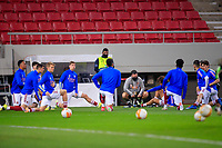 PIRAEUS, GREECE - FEBRUARY 25: Players of Arsenal FC warm up prior to the UEFA Europa League Round of 32 match between Arsenal FC and SL Benfica at Karaiskakis Stadium on February 25, 2021 in Piraeus, Greece.(Photo by MB Media)