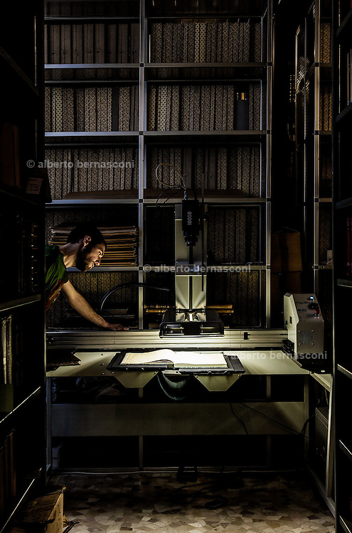Milan, Brera, Biblioteca Braidense, Archicio Ricordi. very high tech scanner where all the documents are scanned inside Castello Sforzesco.
