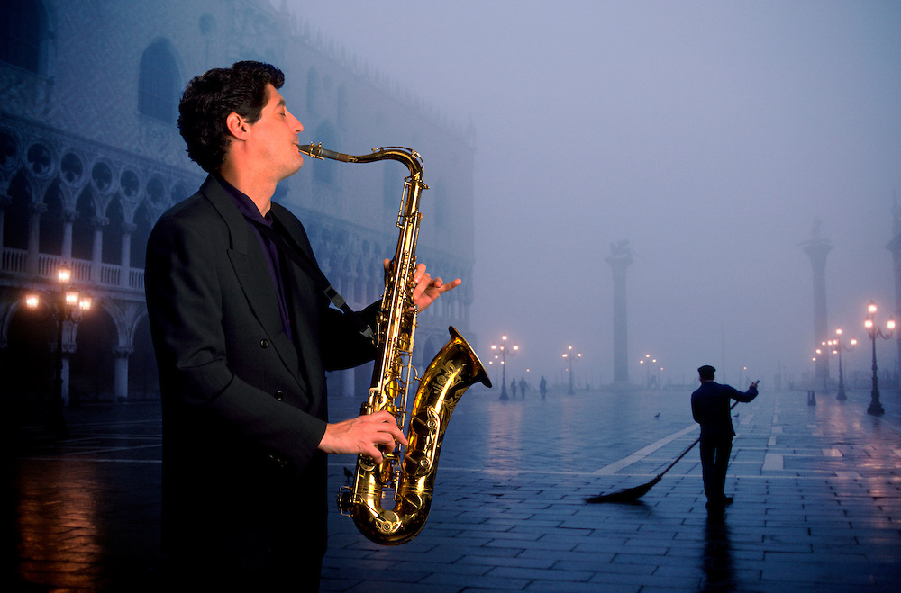 Lewis Cortellezi Playing Sax  in Venice