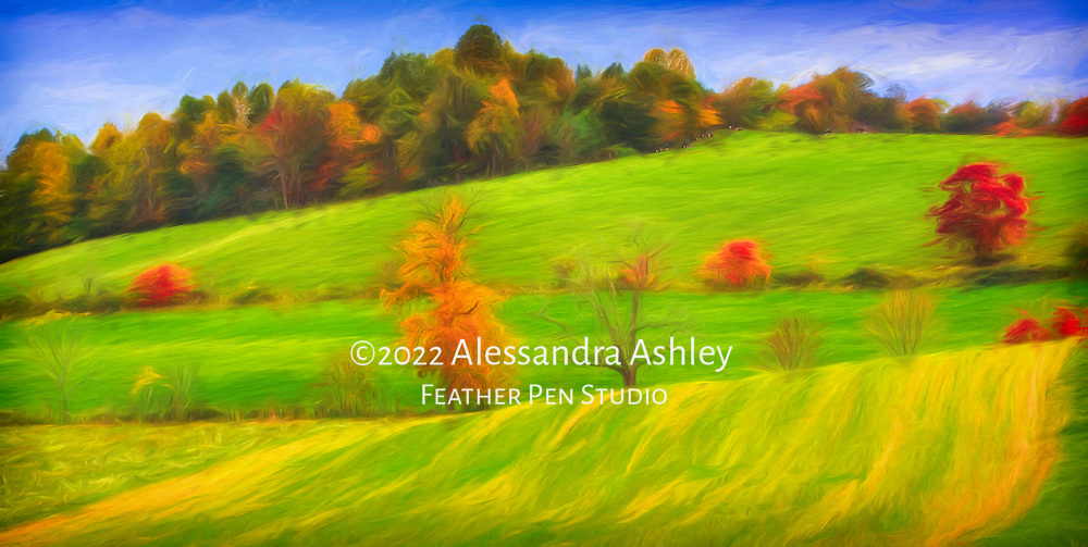Midwestern farmland in autumn, with rollling hills, fields, foliage, and pastured animals.  Painterly efects over original photograph.