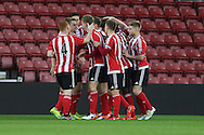 Southampton Sam Gallagher celebrates as he puts Southampton 1-0 up during the Barclays U21 Premier League match between U21 Southampton and U21 Manchester United at the St Mary's Stadium, Southampton, England on 25 April 2016. Photo by Phil Duncan.