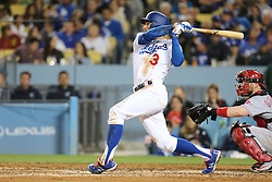 May 11, 2018 - Los Angeles, CA, U.S. - LOS ANGELES, CA - MAY 11: Los Angeles Dodgers Infield Chris Taylor (3) watches his shot come up inches short of a homer but still gets a triple in the game between the Cincinnati Reds and the Los Angeles Dodgers on May 11, 2018 at Dodger Stadium in Los Angeles, CA.. (Photo by Peter Joneleit/Icon Sportswire) (Credit Image: © Peter Joneleit/Icon SMI via ZUMA Press)