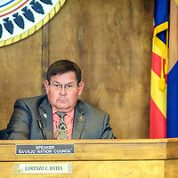 Navajo Nation Tribal Council speaker Lorenzo Bates listens as representative Edmund Yazzie addresses council during session for the 23rd Navajo Nation Tribal Council in Window Rock Monday.