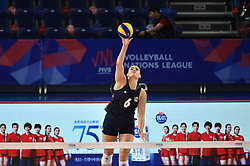 JIANGMEN, June 5, 2018  Tetori Dixon of the United States serves during the match against Russia at FIVB Volleyball Nations League 2018 in Jiangmen City, south China's Guangdong Province, June 5, 2018. Team USA won the match 3-0. (Credit Image: © Liang Xu/Xinhua via ZUMA Wire)