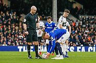 Oldham Athletic forward Sam Surridge (9) places his penalty during The FA Cup 3rd round match between Fulham and Oldham Athletic at Craven Cottage, London, England on 6 January 2019.