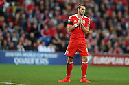 Gareth Bale of Wales reacts after he takes a free-kick and just misses the target. Wales v Georgia , FIFA World Cup qualifier, European group D match at the Cardiff city Stadium in Cardiff on Sunday 9th October 2016. pic by Andrew Orchard, Andrew Orchard sports photography