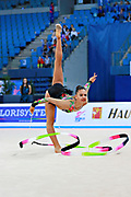 Piriyeva Zhala during qualifying ribbon at the Pesaro World Cup April 2, 2016. Zhala is an Azerbaijani individual rhythmic gymnast, she was born in May 10, 2000 Baku, Azerbaijan.