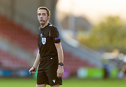 WREXHAM, WALES - Thursday, September 17, 2020: Referee Alain Durieux during the UEFA Europa League Second Qualifying Round match between Connah's Quay Nomads FC and FC Dinamo Tbilisi at the Racecourse Ground. Dinamo Tiblisi won 1-0. (Pic by David Rawcliffe/Propaganda)