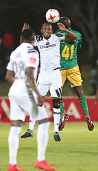 17032018 (Durban) Lerato Lamola of Arrows head on with Xola Mlambo  when Orlando Pirates walloped Golden Arrows 2-1 at the ABSA premier league encounter at Princess Magogo Staduim, in Kwa-Mashu, Durban. Pirates has advance their league position to number 2 with 41 points after Sundowns with 42 points lead.<br /> Picture: Motshwari Mofokeng/African New Agency/ANA