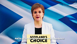 Glasgow, Scotland, UK. 29 March 2021. First Minister of Scotland Nicola Sturgeon addresses SNP conference by video link today . Iain Masterton/Alamy Live News