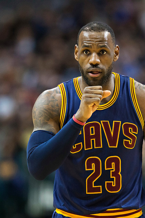 DALLAS, TX - JANUARY 12:  Lebron James #23 of the Cleveland Cavaliers warms up his shooting hand during a game against the Dallas Mavericks at American Airlines Center on January 12, 2016 in Dallas, Texas.  NOTE TO USER: User expressly acknowledges and agrees that, by downloading and or using this photograph, User is consenting to the terms and conditions of the Getty Images License Agreement.  The Cavaliers defeated the Mavericks 110-107.  (Photo by Wesley Hitt/Getty Images) *** Local Caption *** Lebron James