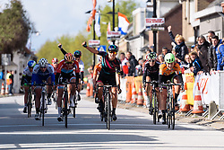 Barbara Guarischi (CANYON//SRAM Racing) at Omloop van Borsele 2016 whilst her teammate, Elena Cecchini celebrates a little further back. A 139 km road race starting and finishing in 's-Heerenhoek, Netherlands on 23rd April 2016.