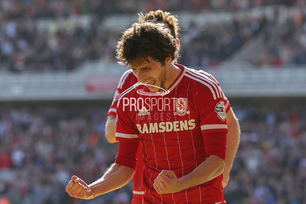 Middlesbrough forward, on loan from Watford, Diego Fabbrini celebrates his goal during the Sky Bet Championship match between Middlesbrough and Leeds United at the Riverside Stadium, Middlesbrough, England on 27 September 2015. Photo by Simon Davies.