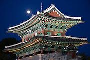 Jinjuseong castle with moonrise.