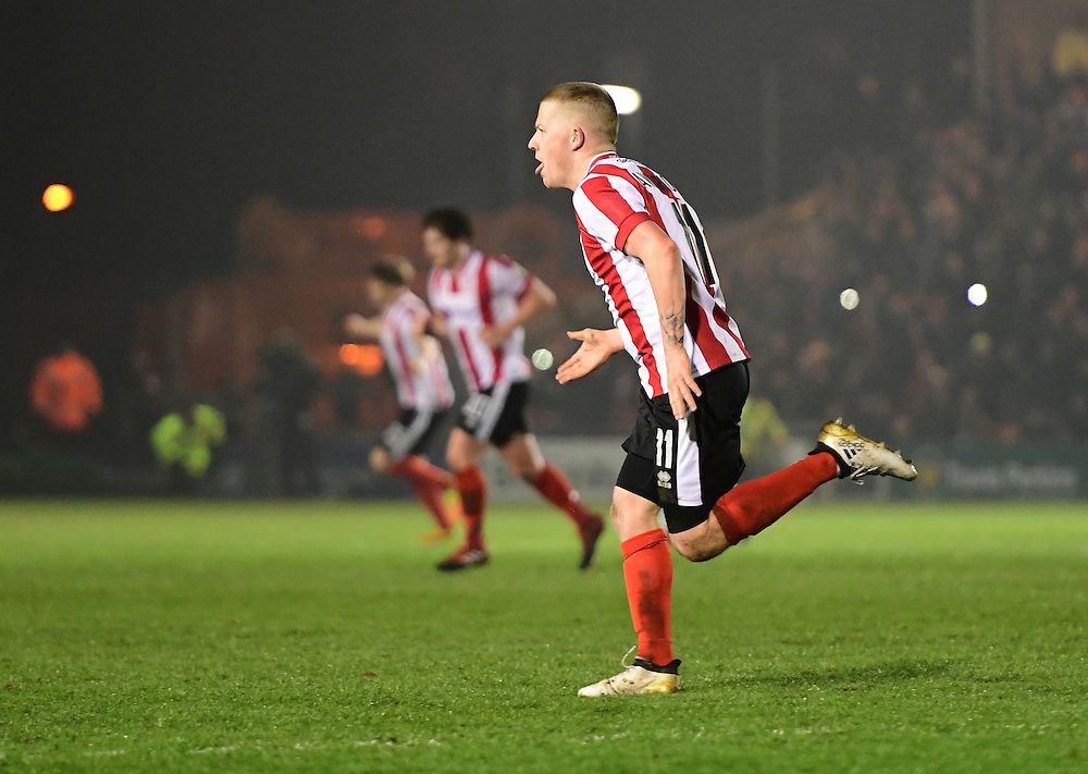 Lincoln City's Terry Hawkridge celebrates scoring his sides second goal <br /> <br /> Photographer Chris Vaughan/CameraSport<br /> <br /> Vanarama National League - Lincoln City v Dover Athletic - Friday 20th January 2017 - Sincil Bank - Lincoln<br /> <br /> World Copyright © 2017 CameraSport. All rights reserved. 43 Linden Ave. Countesthorpe. Leicester. England. LE8 5PG - Tel: +44 (0) 116 277 4147 - admin@camerasport.com - www.camerasport.com