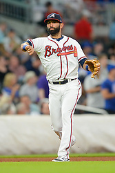 May 15, 2018 - Atlanta, GA, U.S. - ATLANTA, GA Ð MAY 15:  Braves third baseman Jose Bautista (23) throws to first base during the game between Atlanta and Chicago on May 15th, 2018 at SunTrust Park in Atlanta, GA. The Chicago Cubs beat the Atlanta Braves by a score of 3 Ð 2.  (Photo by Rich von Biberstein/Icon Sportswire) (Credit Image: © Rich Von Biberstein/Icon SMI via ZUMA Press)