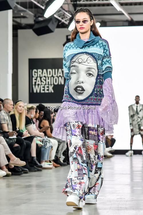 UCA Epsom showcases at Graduate Fashion Week 2019 - Day Three, on 4 June 2019, Old Truman Brewery, London, UK.