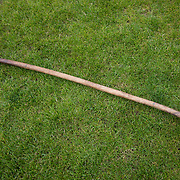 Highland Games, 3rd of August 2019, Newtonmore, Scotland, United Kingdom. A hammer used in the hammer throw competition. The Highland Games is a traditional annual event where competitors compete as strong men, runners, dancers, pipers and at tug-of-war. The games go back centuries and are happening through-out the summer across Scotland. The games are both an important event locally and a global tourist attraction.