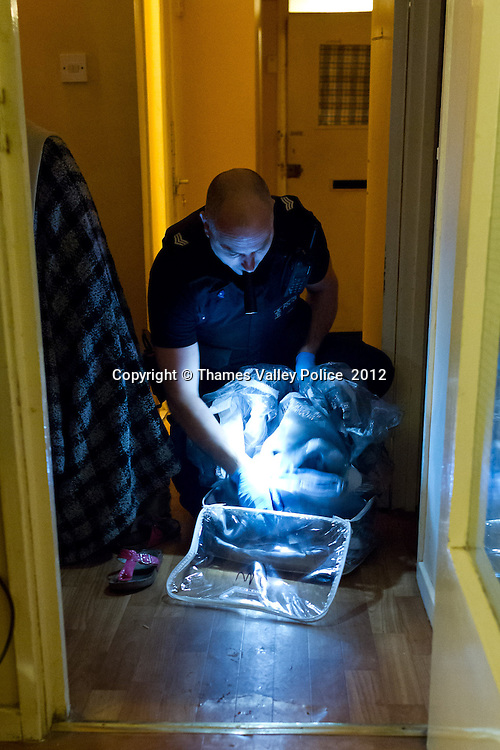 As part of OPERATION ROUSE, Thames Valley Police has this morning (6/12), executed a series of warrants at twenty two properties in Milton Keynes following an investigation into the supply and use of drugs. Officers from Thames Valley Police have carried out a series of warrants under the Misuse of Drugs Act in Milton Keynes, as well as in the Northamptonshire and the Metropolitan area, assisted by officers from the Metropolitan Police.. Milton Keynes, UNITED KINGDOM. December 06 2012. <br /> Photo Credit: MDOC/Thames Valley Police<br /> © Thames Valley Police 2012. All Rights Reserved. See instructions.
