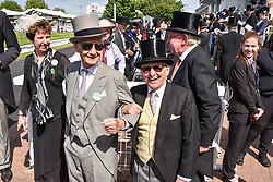 Lester Piggot and Willie Carson at The Investec Derby, Epsom, Surrey England. 3 June 2017.<br /> Photo by Dominic O'Neill/SilverHub 0203 174 1069 sales@silverhubmedia.com