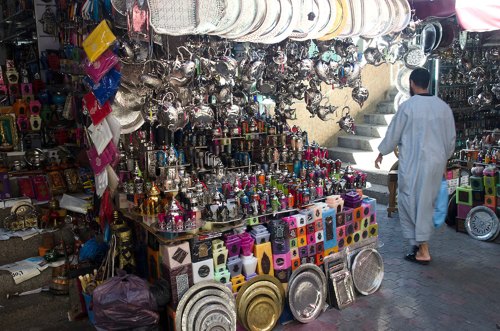Stall with tea sets and brass trays in Marrakech Morocco