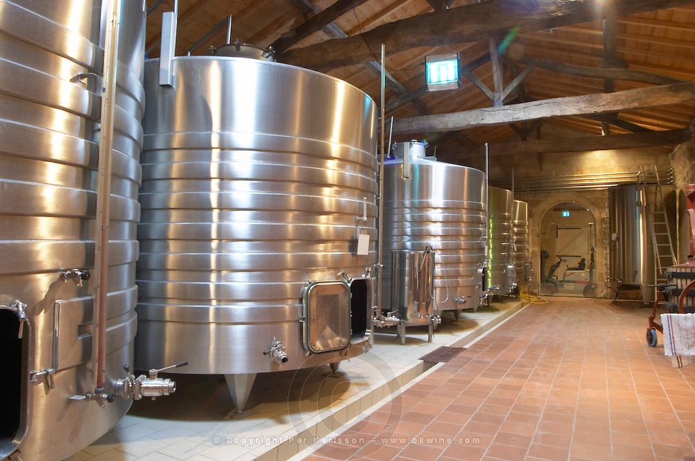Fermentation tanks. Chateau Clos Fourtet, Saint Emilion, Bordeaux, France
