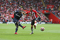 Football - 2021/ 2022 Premier League - Southampton vs. West Ham United - St Mary's Stadium - Saturday 11th August<br /> <br /> Michail Antonio of West Ham United gets a shot on goal well saved by Southampton's Alex McCarthy during the Premier League match at St Mary's Stadium Southampton <br /> <br /> COLORSPORT/Shaun Boggust