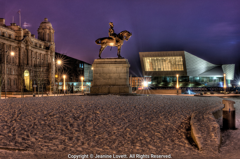 Port of Liverpool Building,  Museum of Liverpool photograph taken at night in winter.