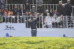 October 22, 2017 - Seogwipo, Jeju Island, South Korea - October 22, 2017-Seogwipo, Jeju Island, South Korea-Morgan Hoffmann of USA tee up on the 1th tee ground during an PGA TOUR CJ CUP NINE BRIDGE DAY 4 at Nine Bridge CC in Jeju Island, South Korea. (Credit Image: © Ryu Seung Il via ZUMA Wire)