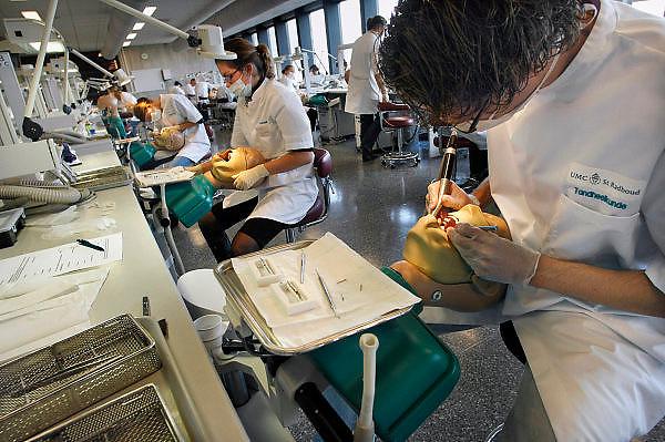 Nederland, Nijmegen, 24-10-2006Studenten tandheelkunde oefenen op een pop, fantoom, fantoompop.Foto: Flip Franssen/Hollandse Hoogte