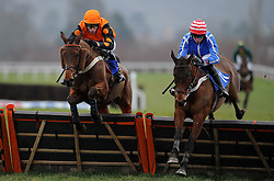 El Indio ridden by James Reveley and Watchmetail ridden by C O'Farrell during the Red Berry Recruitment Ltd Handicap Hurdle (Class 5) (4YO plys)  - Photo mandatory by-line: Harry Trump/JMP - Mobile: 07966 386802 - 09/03/15 - SPORT - Equestrian - Horse Racing - Taunton Racing - Taunton Racecourse, Somerset, England.